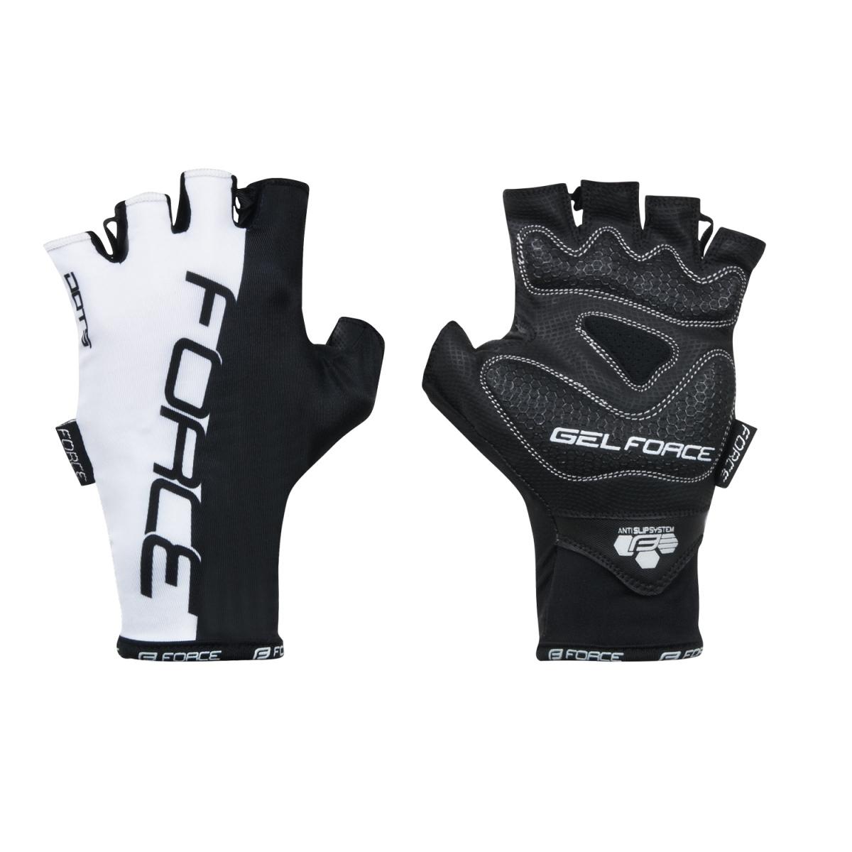 Force rukavice Dots bez zapínání, bílo-černé XL