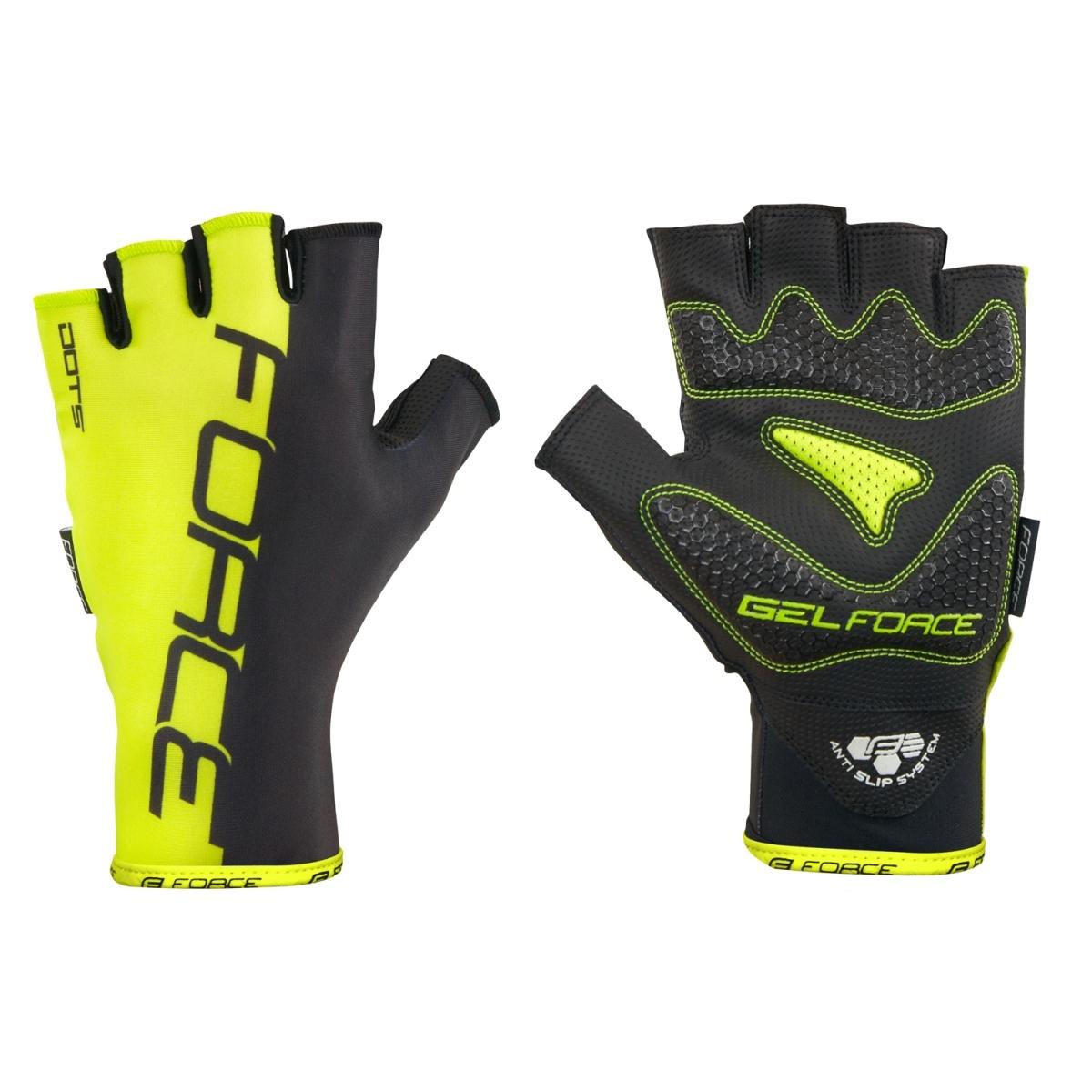 Force rukavice Dots bez zapínání, fluo-černé XL