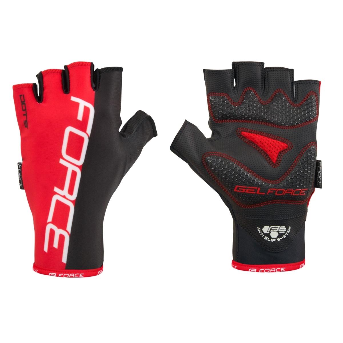 Force rukavice Dots bez zapínání, červeno-černé XL